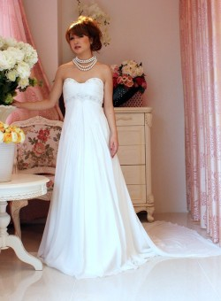 セレブ◆送料無料◆KA-0556シンプルなスレンダーライン*ウェディングドレス◆ホワイト:結婚式::1411【レディースファッション】記念日向けギフトの通販サイト「バースデープレス」