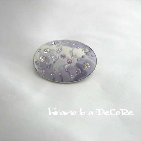 ジュエルDeCoRe紫と白色のマーブル、横長のブローチ【アクセサリー 誕生日 バースデー プレゼント 贈り物 ギフト お祝い】の画像1枚目