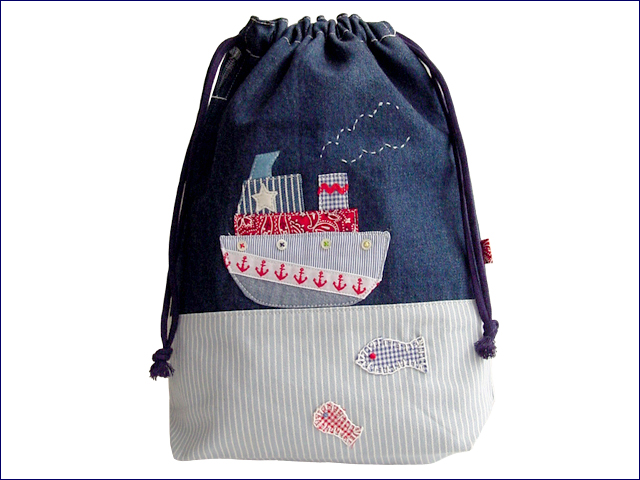 KAZUオリジナル・L-キンチャク(ヨット)【バッグ ハンドメイド 子供 誕生日 バースデー プレゼント 贈り物 ギフト お祝い】の画像1枚目