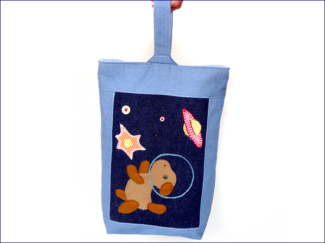 KAZUオリジナル・シューズバッグ(宇宙犬)【バッグ ハンドメイド 子供 誕生日 バースデー プレゼント 贈り物 ギフト お祝い】の画像1枚目