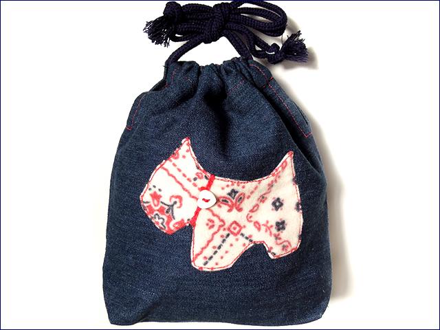 KAZUオリジナル・S-キンチャク(テリア犬・ネル生地バンダナ柄 白)【バッグ ハンドメイド 子供 誕生日 バースデー プレゼント 贈り物 ギフト お祝い】