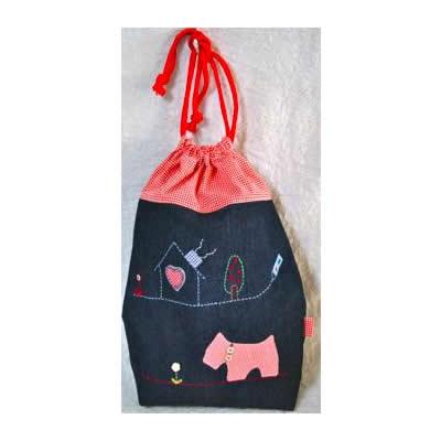 KAZUオリジナル・L-キンチャク(2匹のテリアと家)【バッグ ハンドメイド 子供 誕生日 バースデー プレゼント 贈り物 ギフト お祝い】の画像1枚目