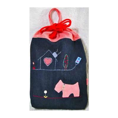 KAZUオリジナル・L-キンチャク(2匹のテリアと家)【バッグ ハンドメイド 子供 誕生日 バースデー プレゼント 贈り物 ギフト お祝い】の画像2枚目