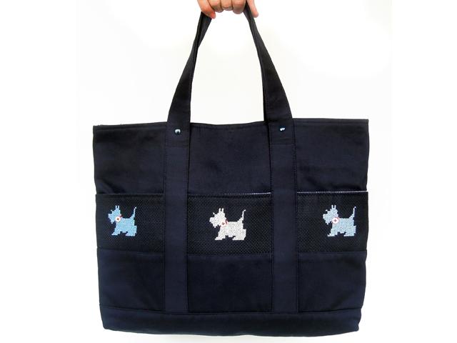 KAZUオリジナル・レッスンバッグ(クロスステッチ・テリア犬)【バッグ ハンドメイド 子供 誕生日 バースデー プレゼント 贈り物 ギフト お祝い】
