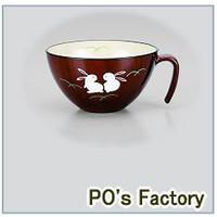 スープ椀【うさぎ】(手描き) 木地呂 安心 会津若松漆器::1587【キッチン用品・食器・調理器具】記念日向けギフトの通販サイト「バースデープレス」