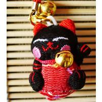 縮緬ストラップ★★・福猫【黒子】::1587【バッグ・小物・ブランド雑貨】記念日向けギフトの通販サイト「バースデープレス」