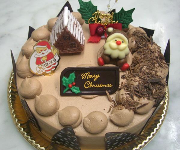 【クリスマスケーキ2016】クリスマス チョコ生クリームデコレーションケーキ 4号(直径12cm)の画像1枚目