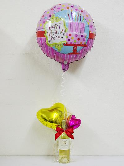 誕生日[A104]お誕生日の贈り物に!イタリア白ワインとバルーンのギフトヘリウム風船付き【水・ソフトドリンク】記念日向けギフトの通販サイト「バースデープレス」