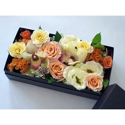 ボックスアレンジメント【オレンジ】L【花 フラワー 誕生日 バースデー プレゼント 贈り物 ギフト お祝い】の画像2枚目