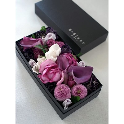ボックスアレンジメント【パープル】L【花 フラワー 誕生日 バースデー プレゼント 贈り物 ギフト お祝い】