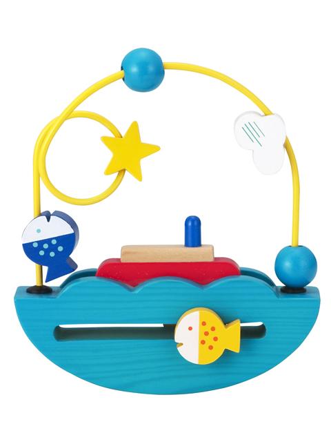 ボートがゆらゆら、おさかなクルクル!インテリアにもかわいい木のおもちゃ【森のあそび道具 ゆらゆらボート《1.5才》】