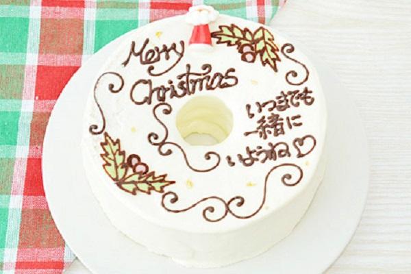 【クリスマスケーキ2016】お手紙ケーキ クリスマスケーキバージョン 直径21cm(4名から7名様用)【Xmas クリスマス シフォン】の画像1枚目