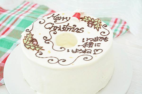 【クリスマスケーキ2016】お手紙ケーキ クリスマスケーキバージョン 直径21cm(4名から7名様用)【Xmas クリスマス シフォン】の画像2枚目