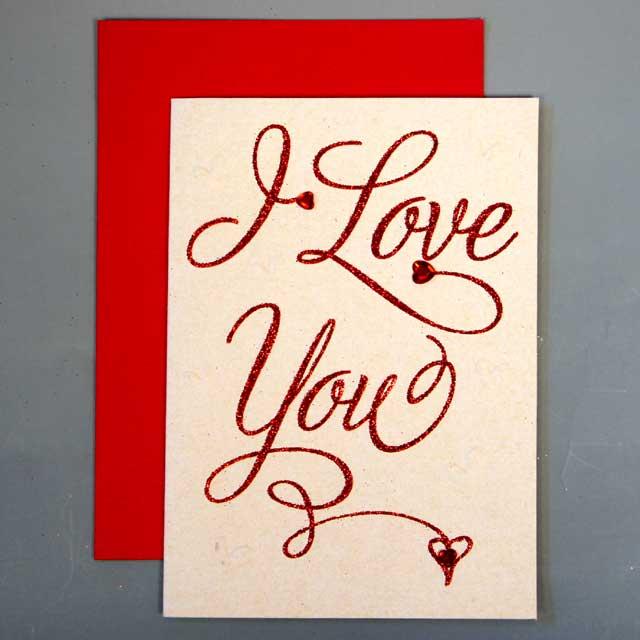 バレンタインカード  「カリグラフィー」 01 I Love You【送料無料 メール便】【日用品雑貨・手芸 > 年中行事】記念日向けギフトの通販サイト「バースデープレス」