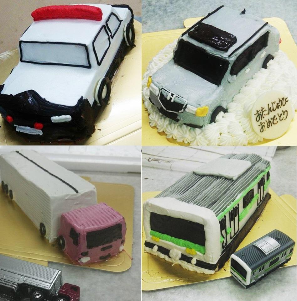 乗り物デコレーションケーキ 4号 12cm