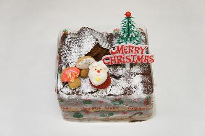 【送料無料】デコレーションケーキ:サンタさんのお家(濃厚なチョコレートケーキ)4号(12cm)四角