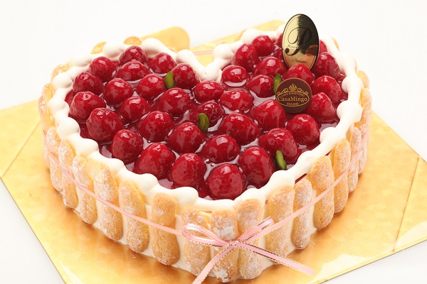最高級洋菓子 特注ハート型シュス木苺レアチーズケーキ30cmの画像2枚目