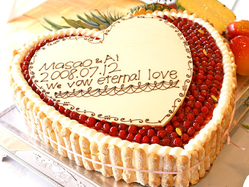 最高級洋菓子 特注ハート型シュス木苺レアチーズケーキ36cmの画像1枚目