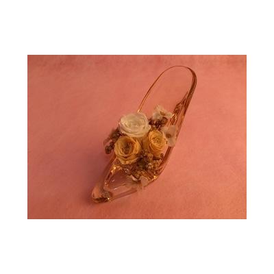 光るガラスの靴プリザ(ゴールド)【花・ガーデン・DIY > フラワー】記念日向けギフトの通販サイト「バースデープレス」