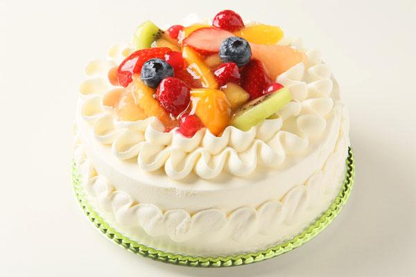 生クリームフルーツ飾りデコレーション6号【誕生日 バースデーケーキ】の画像1枚目