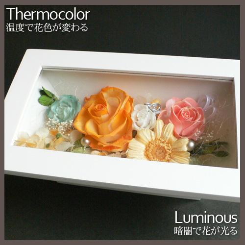 プリザーブドフラワー 温度で色が変わる&光る 額アレンジ 長方形(白)
