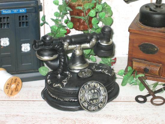 アンティーク風*電話の形の貯金箱*ミニチュア オールディーズ