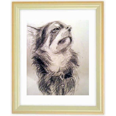 ペットの肖像画 3匹(白黒画・A4サイズ額付)::2879【バッグ・小物・ブランド雑貨】記念日向けギフトの通販サイト「バースデープレス」