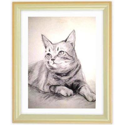 ペットの肖像画 2匹(白黒画・A4サイズ額付)::2879【バッグ・小物・ブランド雑貨】記念日向けギフトの通販サイト「バースデープレス」