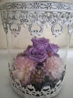 プリザーブドフラワー ガラスドーム マダムヴィオレ::2903【花・ガーデン・DIY】記念日向けギフトの通販サイト「バースデープレス」