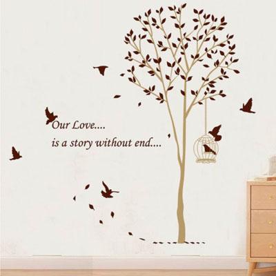 ウォールステッカー/木と鳥かご☆茶系・モノトーン☆::3007【バッグ・小物・ブランド雑貨】記念日向けギフトの通販サイト「バースデープレス」