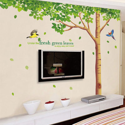 ウォールステッカー/鳥と木々☆グリーン☆::3007【バッグ・小物・ブランド雑貨】記念日向けギフトの通販サイト「バースデープレス」