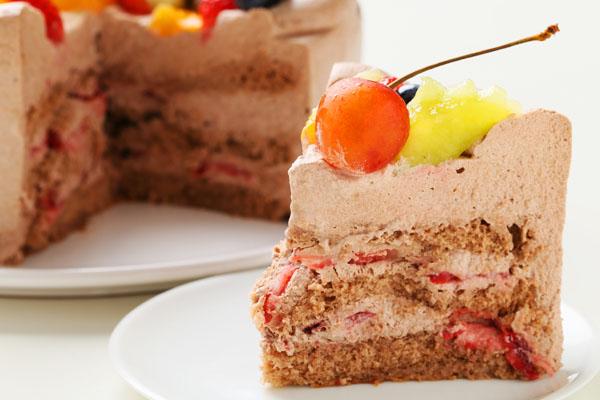 希少糖(レアシュガー)を使ったチョコ生クリームフルーツデコレーションケーキ 5号 15cmの画像5枚目