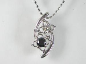 K18WG ホワイトゴールド ブラックダイヤモンド/ダイヤ ペンダント ネックレス【10P12Jul14】::3324【バッグ・小物・ブランド雑貨】記念日向けギフトの通販サイト「バースデープレス」
