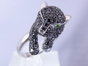 2.85CTブラックダイヤモンド 豹のリング【10P12Jul14】::3324【バッグ・小物・ブランド雑貨】記念日向けギフトの通販サイト「バースデープレス」