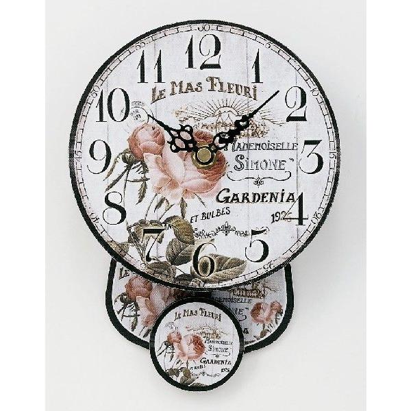 送料無料!振り子時計 壁掛け時計 インテリアウォールクロックS ローズ::3421【バッグ・小物・ブランド雑貨】記念日向けギフトの通販サイト「バースデープレス」