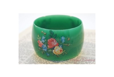 ヴィンテージ Floral print Plastic バングル::3504【バッグ・小物・ブランド雑貨】記念日向けギフトの通販サイト「バースデープレス」