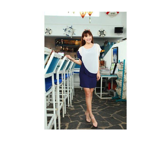 バイカラー☆ シンプル 半袖 ゆったりワンピース♪  2014 新作 春夏 セール ドレス パーティー::3528【レディースファッション】記念日向けギフトの通販サイト「バースデープレス」