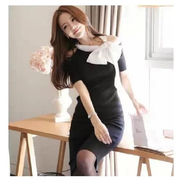 韓国スタイル 半袖 肩開き リボン スリムワンピース ドレス 2014 新作 春夏 セール ドレス パーティー::3528【レディースファッション】記念日向けギフトの通販サイト「バースデープレス」