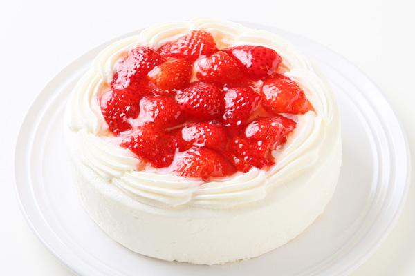 【ポイント10倍】生クリーム苺デコレーションケーキ 6号 18cmの画像1枚目