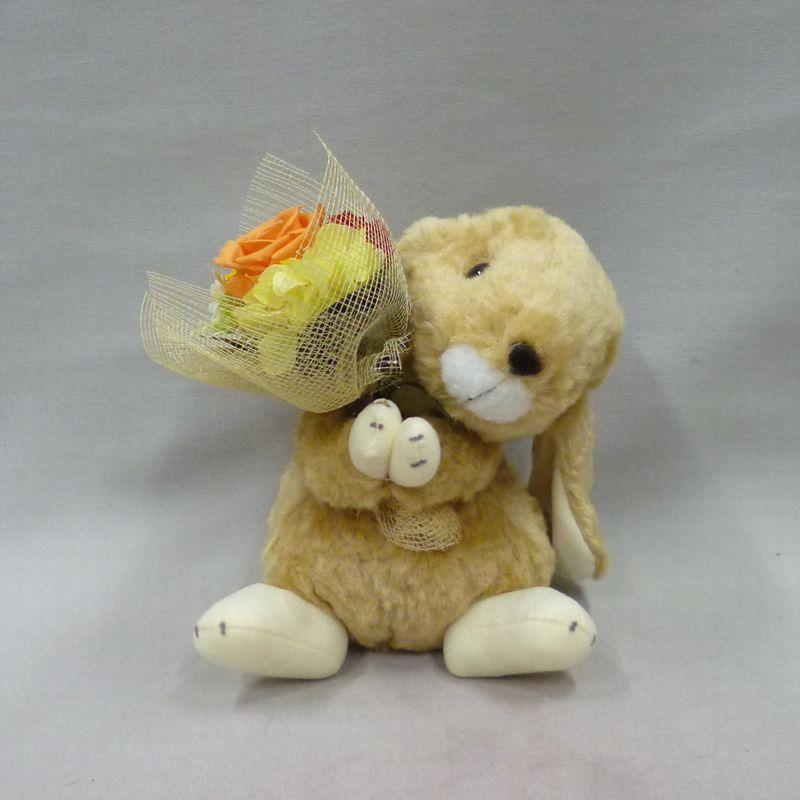 花束うさぎ・ブラウン(プリザーブドフラワー)【花 フラワーギフト 花束 プリザーブド】の画像2枚目