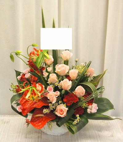 ピンクのバラ入りの大人なアレンジ【花 フラワーギフト アレンジメント フラワー 誕生日】[品番:0273]の画像1枚目