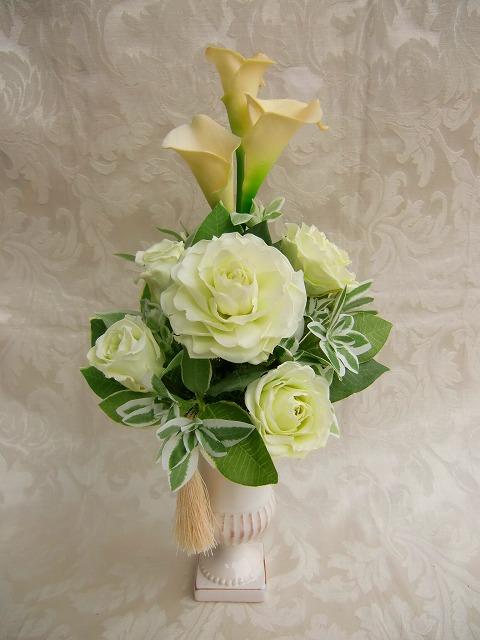 仏花 淡いグリーンの薔薇 祷(とう)