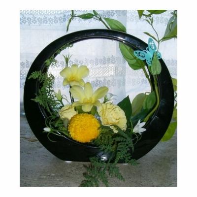 即日対応!サーキュレーターブラックベース黄色いバラのアレンジ 和風華麗 送料無料