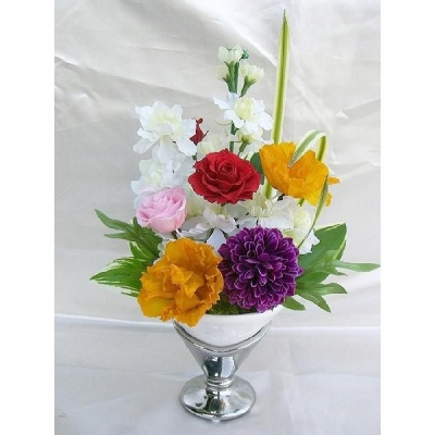 仏壇御供花 花瓶付雅トルコキキョウとバラのアレンジ