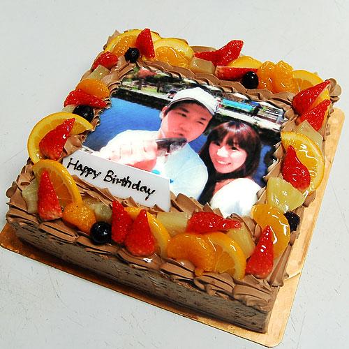 写真ケーキ生チョコクリーム Mサイズ 18cm×18cm
