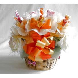 バラのキャンディバスケット【誕生日 贈り物 プレゼント お祝い ギフト 花 フラワー】の画像1枚目