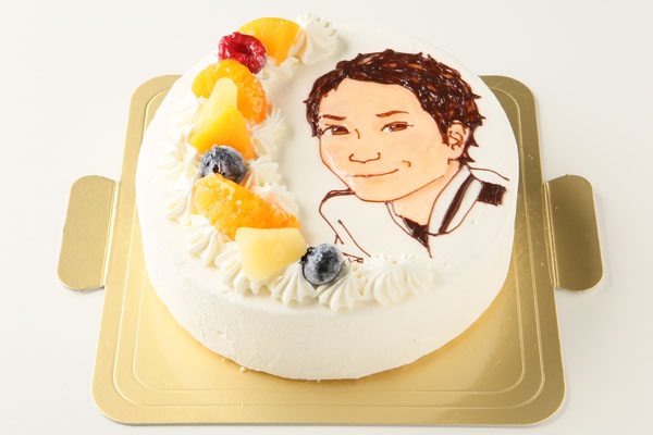 似顔絵生クリームデコレーションケーキ 5号 15cmの画像2枚目