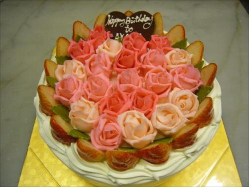 バラ21個とイチゴ飾り 【平面】
