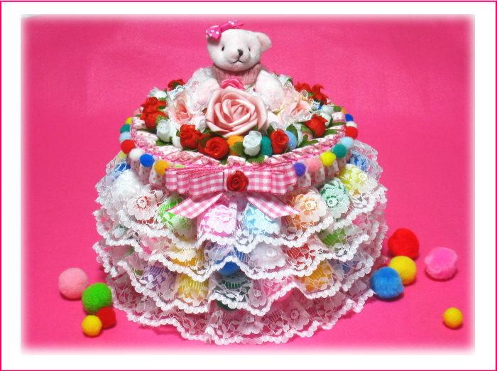 レースやお花のオムツケーキ とてもカラフルなボールをデコレーションした1段おむつケーキ【あす楽対応】【おむつケーキ 出産祝い 名入れ プレゼント 贈り物】の画像1枚目