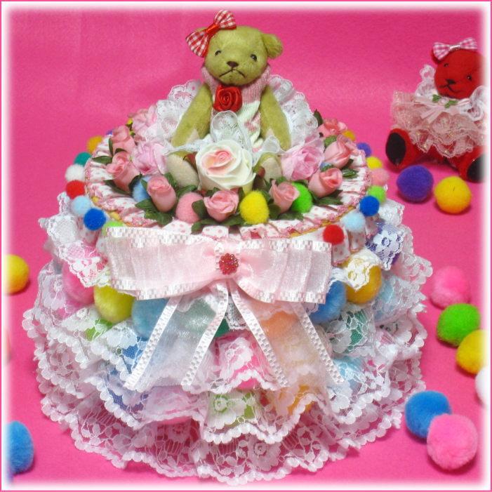 レースやお花のオムツケーキ とてもカラフルな丸い形の1段おむつケーキ【あす楽対応】【おむつケーキ 出産祝い 名入れ プレゼント 贈り物】の画像1枚目